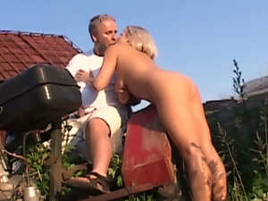 Oldman aroused and fucked by busty blonde