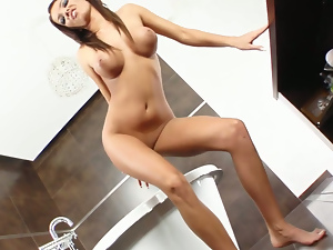 Mercedes spreads that sexy pink pussy of hers and starts to masturbate.