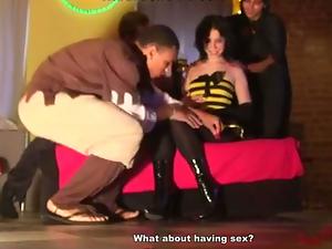 hard fuck threesome girl on Halloween