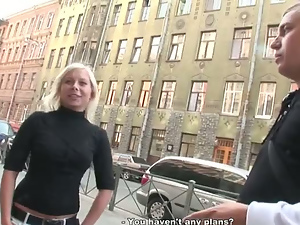 Titted blonde suck dick on the sidelines for 15 bucks