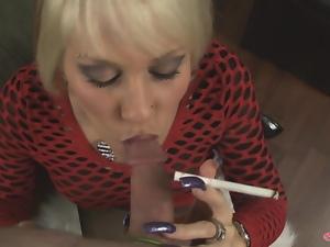 POV blowjob from smoking MILF