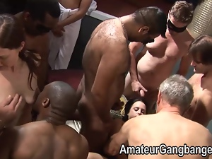 Big orgy with petite chubby and mature woman