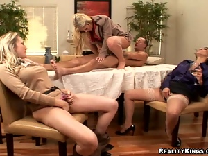 Pair of babes masturbate as their friend fucks