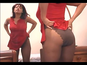 Hot mom fingering her pussy in sheer pantyhose