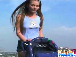 Babysitter anal fucks outdoors