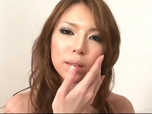 Lovely Rino Asuka in high heels toying a cock in undies