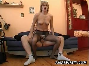 Hot amateur Milf masturbates, sucks and fucks with cum