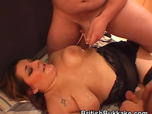 Plump woman in stockings soaked in cum