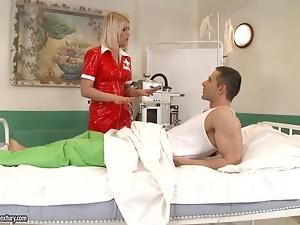 Latex nurse babe fucks her patient