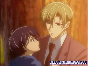 Anime gay having their first time kissing fun