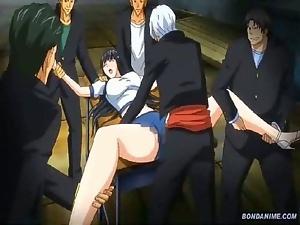 Hentai petite schoolgirl gangbanged by her pals