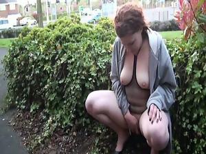 Redhead Amateur Isabel Dean Flashing British Stree