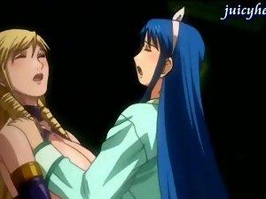 Anime lesbians masturbating with a double dildo