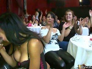 Wild gangbang action at dirty club