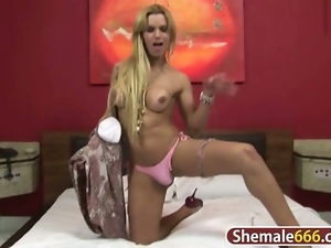 Nasty blonde shemale jerking off hard