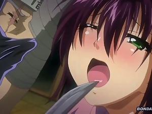 Busty hentai anime ninja girl in net suit gangbang