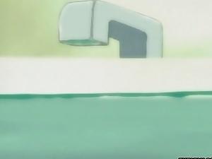 Virgin blonde hentai anime babe with fuck in bath