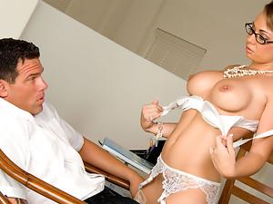 Secretary in stockings serve her boss
