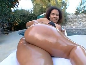 angie and her big ass oiled up and riding!