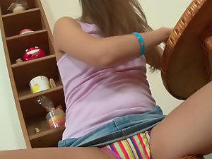 Teen toying her perfect holes with dildo