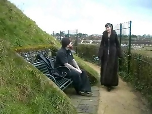 Goth amateur babes public peeing and outdoor flash