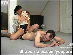 Lady boss strapon fucking a guy