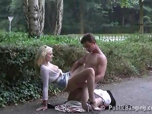 Hot blonde fucked at a parking lot