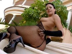 Brunette Teen Adela poses outdoor