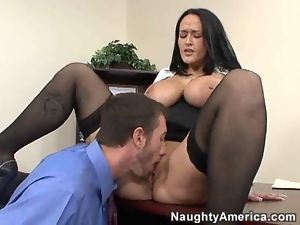 Mature busty brunette fucks businessman in office place