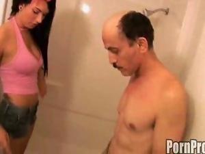 The busty brunette fucks guy inside the shower