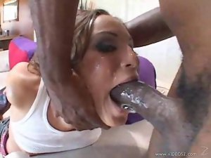 Thick black cock pours white cum on her face