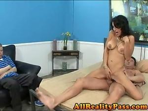 Skinny brunette fucks in front of husband