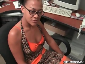 Black girl in glasses gets on her knees for BJ