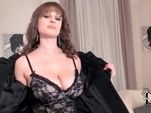 Big titty brunette girl in lovely lingerie