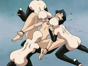 Bound and gagged hentai slave slut licked