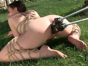 Dildo machine double penetrates bound girl