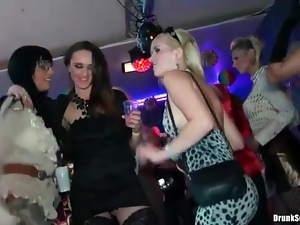 Girls grinding on guys at the night club