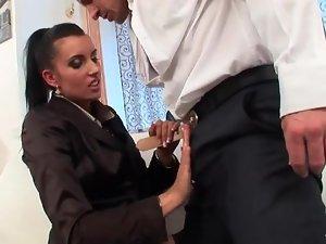 Fully clothed slut sucks his dick and balls