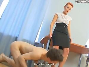Beautiful dominant redhead tramples him