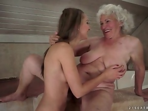 Teen sits her pussy over that pretty grandma face
