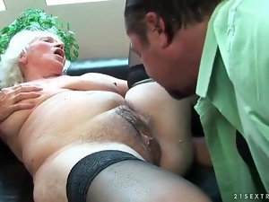 Licking and fucking her hairy granny pussy