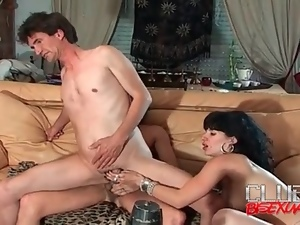 Slut shares hard cock with her man