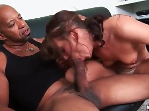 Girl struggles to suck huge black cock