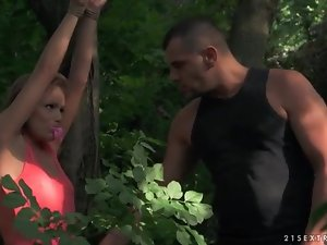 He fondles tied up slave girl in the woods