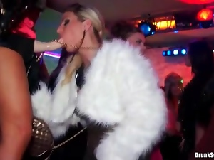 Dancing girls in hot clothes at wild club party