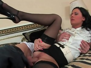 Satin blouse and short skirt on a fucked girl
