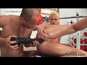 Giving her milk enemas and fucking her asshole