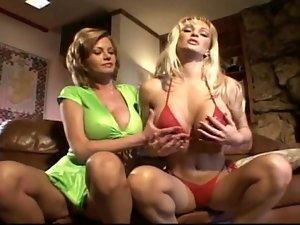 Bikini girl and busty friend fool around lustily