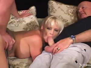 Blonde wife in stockings cheat on husband