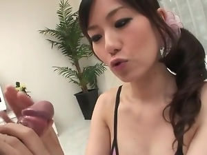 Blown by a beautiful girl and cumming in her mouth